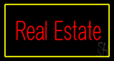Red Real Estate Yellow Border Neon Sign