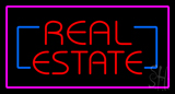 Real Estate with  Pink Border Neon Sign