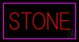 Stone Rectangle Purple Neon Sign