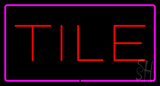 Tile Rectangle Purple Neon Sign