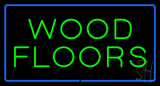 Wood Floors Rectangle Blue Neon Sign