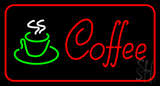 Red Coffee Logo with Red Border Neon Sign