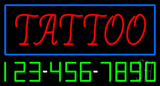 Red Tattoo Blue Border with Phone Number Neon Sign