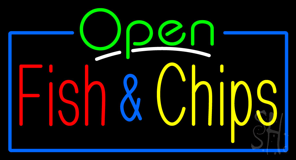 Open fish chips neon sign fish chips neon signs every for Fish neon sign