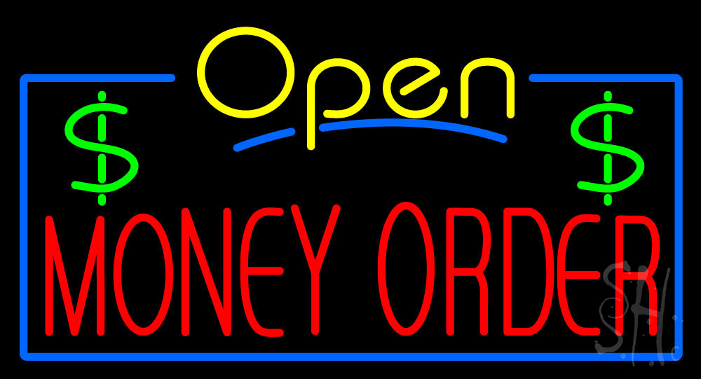 """The Sign Store Yellow Open Red Money Order Clear Backing Neon Sign 20"""" Tall x 37"""" Wide at Sears.com"""
