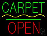 Carpet Block Open Green Line Neon Sign