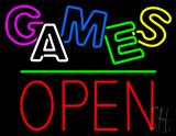 Games Block Open Green Line Neon Sign