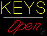 Keys Script1 Open White Line Neon Sign