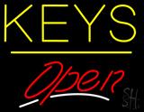Keys Script2 Open Yellow Line Neon Sign