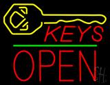 Keys Logo Block Open Green Line Neon Sign