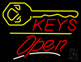 Keys Logo Open Yellow Line Neon Sign