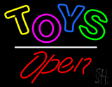 Toys Open White Line Neon Sign