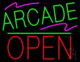 Arcade Block Open Green Line Neon Sign