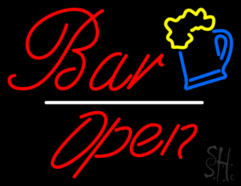 Bar Open White Line Neon Sign