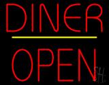 Diner Block Open Yellow Line Neon Sign