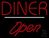 Diner Script1 Open White Line Neon Sign