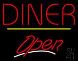 Diner Script2 Open Yellow Line Neon Sign