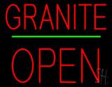 Granite Block Open Green Line Neon Sign