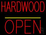 Hardwood Block Open Yellow Line Neon Sign