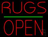 Rugs Block Open Green Line Neon Sign