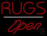 Rugs Script1 Open White Line Neon Sign