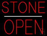 Stone Block Open White Line Neon Sign