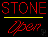 Stone Script1 Open Yellow Line Neon Sign