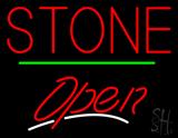 Stone Script2 Open Green Line Neon Sign