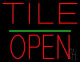 Tile Block Open Green Line Neon Sign