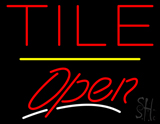 Tile Script2 Open Yellow Line Neon Sign