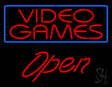 Video Games Blue Border Open Neon Sign