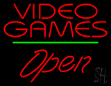 Video Games Open Green Line Neon Sign