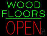 Wood Floors Block Open Green Line Neon Sign