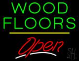 Wood Floors Script2 Open Yellow Line Neon Sign