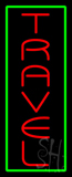 Vertical Red Travel Green Border Neon Sign