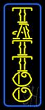 Yellow Tattoo Blue Border Neon Sign