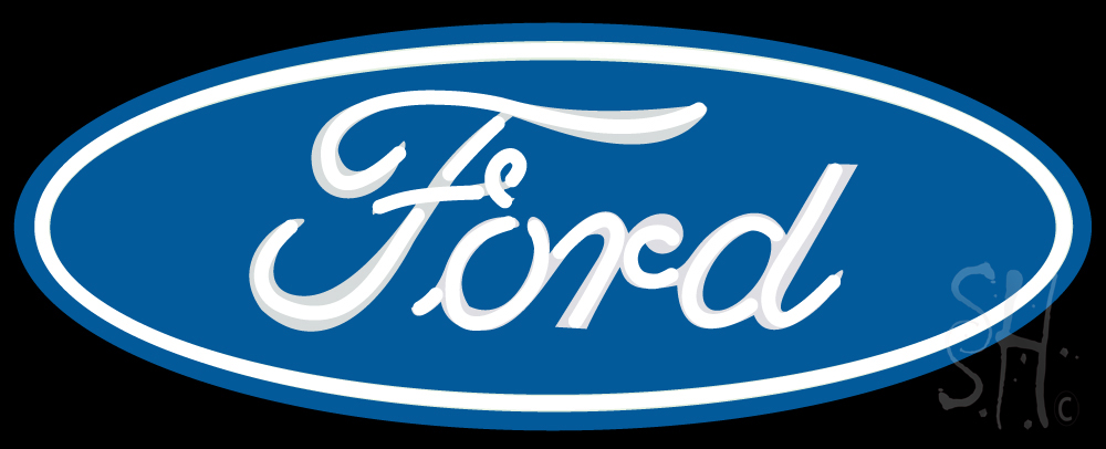 """The Sign Store Ford Oval In Metal Can Clear Backing Neon Sign 13"""" Tall x 32"""" Wide at Sears.com"""