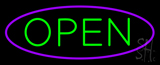Green Open With Purple Oval Border Neon Sign