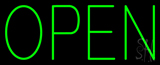 Open Horizontal No Border Green Neon Sign