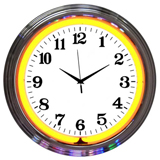 Chrome Orange Standard 15 Inch Neon Clock