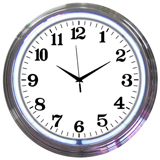 Chrome White Standard 15 Inch Neon Clock