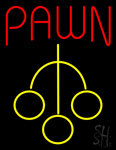 Red Pawn with Yellow Logo Neon Sign