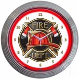 Fire Department Neon Clock