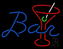 Bar With Wine Glass Neon Sign