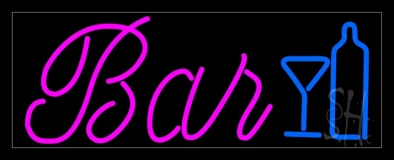 Cursive Bar With Wine Bottle and Glass Neon Sign