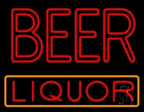 Red Double Stroke Beer Liquor Neon Sign