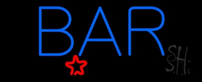 Blue Bar With Star Neon Sign