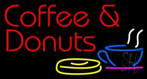 Coffee And Donuts With Coffee Glass Neon Sign