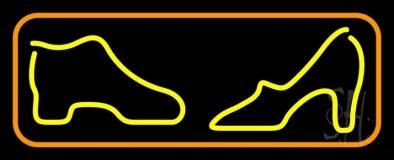 Boot Sandal Orange Border Neon Sign