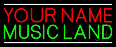 Custom Green Music Land White Line Neon Sign